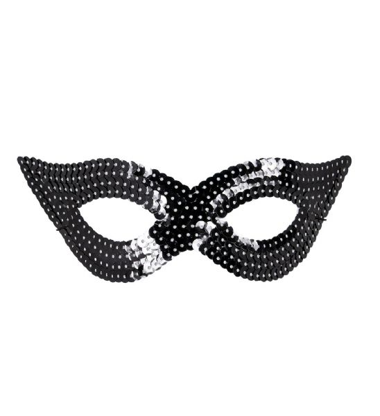 Black Sequin Eyemask Fancy Dress